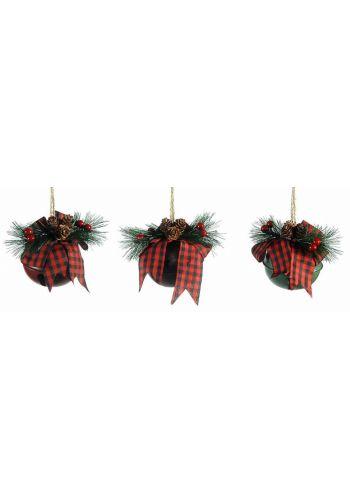 Χριστουγεννιάτικα Μεταλλικά Κρεμαστά Κουδουνάκια, Διακοσμημένα - 3 Χρώματα