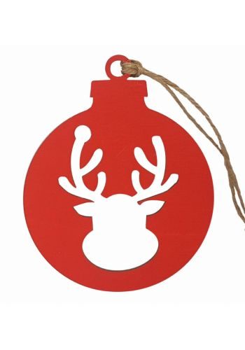 Χριστουγεννιάτικο Ξύλινο Ταρανδάκι, Κόκκινο (10cm)