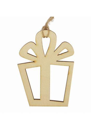 Χριστουγεννιάτικο Ξύλινο Στολίδι Δωράκι, Natural Καφέ (10cm)