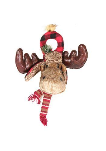 Χριστουγεννιάτικα Λούτρινα Διακοσμητικά Κεφάλια Ταράνδου - 2 Σχέδια (34cm) - 1 Τεμάχιο