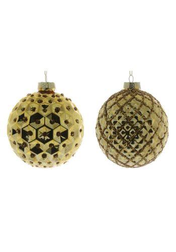 Χριστουγεννιάτικη Χρυσή Γυάλινη Μπάλα, Ανάγλυφη - 2 Σχέδια (10cm)