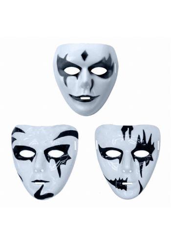 Αποκριάτικο Αξεσουάρ Μάσκα Λευκή με Μαύρα Σχέδια (3 Σχέδια)