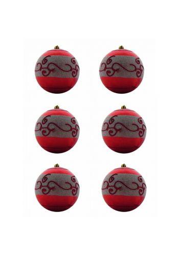 Χριστουγεννιάτικη Μπάλα Κόκκινη, με Σχέδια (10cm)