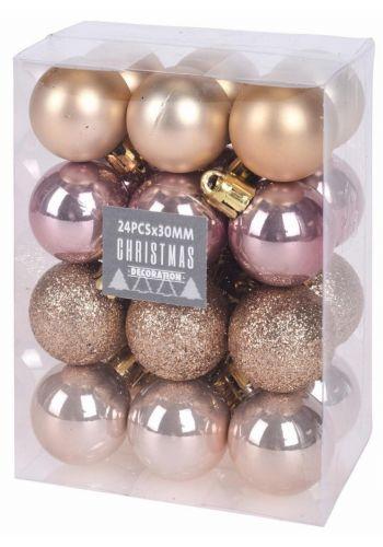 Χριστουγεννιάτικες Μπάλες Ροζ και Χρυσες - Σετ 24 τεμ. (3cm)