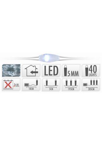 40 Λευκά Ψυχρά Φωτάκια LED Copper Μπαταρίας (2m)