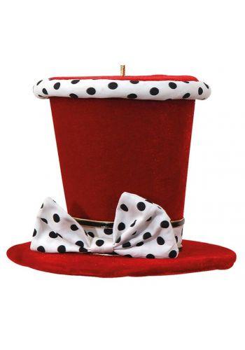 Χριστουγεννιάτικο Τσόχινο Καπέλο Κόκκινο με Πουά Φιόγκο (15cm)