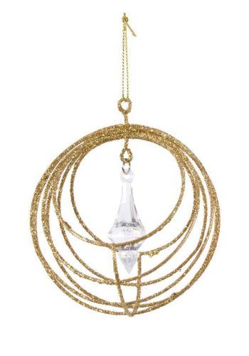 Χριστουγεννιάτικο Μεταλλικό Στολίδι Χρυσό με Παγοκρύσταλλο (8cm)
