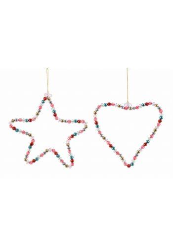 Χριστουγεννιάτικο Μεταλλικό Στολίδι με Χάντρες Πολύχρωμο - 2 Σχέδια (17cm) - 1 Τεμάχιο