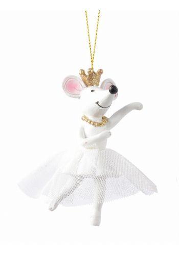 Χριστουγεννιάτικο Ποντικάκι Λευκό με Στέμμα (10cm)