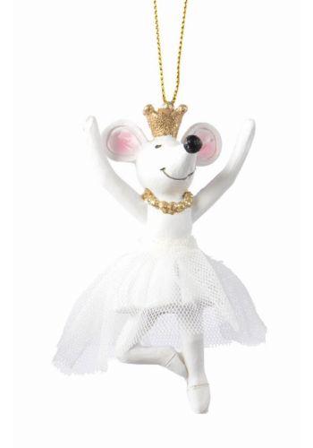 Χριστουγεννιάτικο Ποντίκι Λευκό με Στέμμα (10cm)