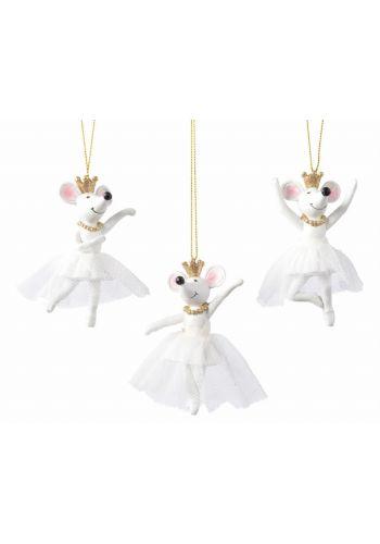 Χριστουγεννιάτικο Πολυρεζίνη Ποντικάκι Λευκό με Στέμμα (10cm)