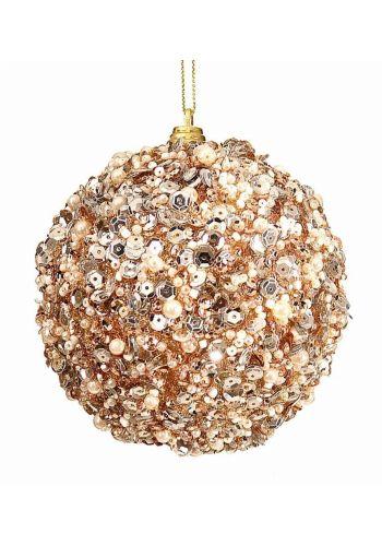 Χριστουγεννιάτικη Μπάλα Χρυσή με Πούλιες (10cm)