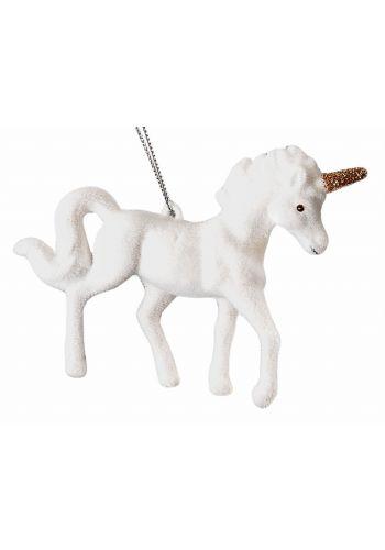 Χριστουγεννιάτικος Φελιζόλ Μονόκερως Λευκός (10cm)