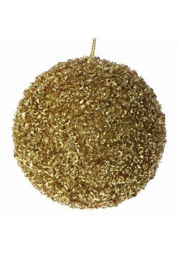 Χριστουγεννιάτικη Μπάλα Χρυσή με Στρας και Χάντρες (8cm)