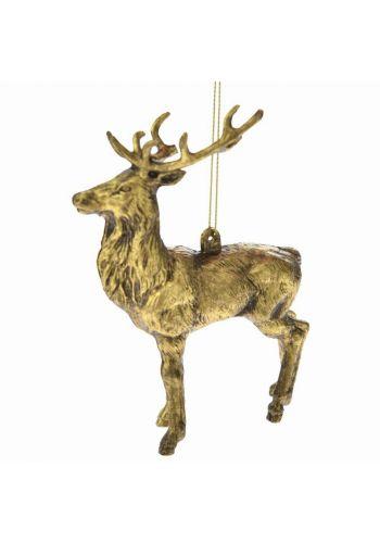 Χριστουγεννιάτικος Τάρανδος Πλαστικός Χρυσός Όρθιος (12.5cm)