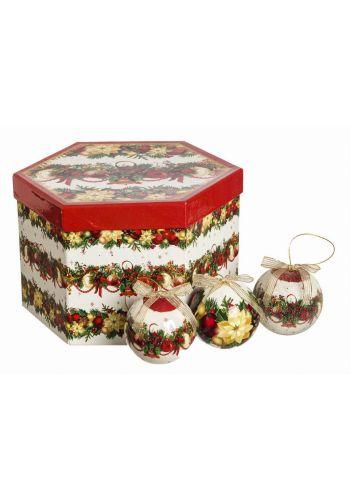 Χριστουγεννιάτικες Μπάλες Πολύχρωμες σε Κουτί Δώρου - Σετ 14 τεμ. (7.5cm)