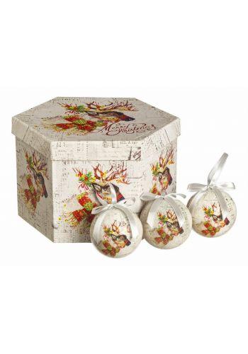 Χριστουγεννιάτικες Μπάλες Πολύχρωμες με Τάρανδο σε Κουτί Δώρου - Σετ 14 τεμ. (7.5cm)