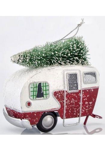 Χριστουγεννιάτικο Τροχόσπιτο Μεταλλικό με Δέντρο (9cm)