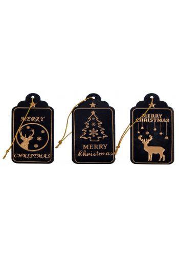 Χριστουγεννιάτικο Στολίδι Μεταλλικό Μαύρο - 3 Σχέδια (8cm)