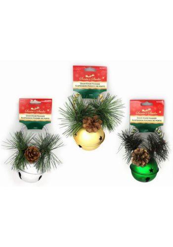 Χριστουγεννιάτικο Μεταλλικό Κουδουνάκι με Κουκουνάρι και Πευκοβελόνες - 3 Χρώματα (16cm)