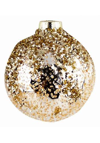 Χριστουγεννιάτικη Μπάλα Γυάλινη Χρυσή (8cm)