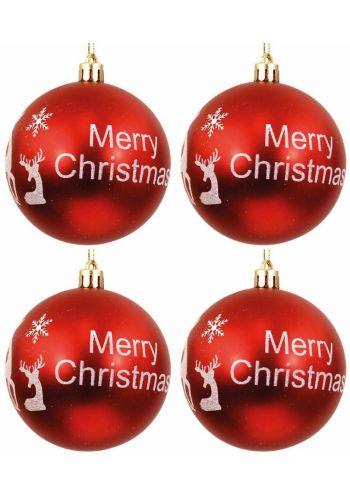 """Χριστουγεννιάτικες Μπάλες Κόκκινες με """"Merry Christmas"""" και Σχέδια - Σετ 4 τεμ. (10cm)"""