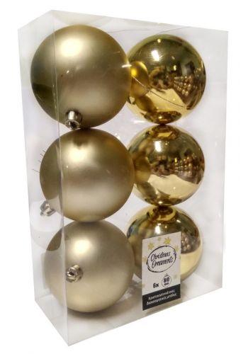 Χριστουγεννιάτικες Μπάλες Χρυσές - Σετ 6 τεμ. (8cm)