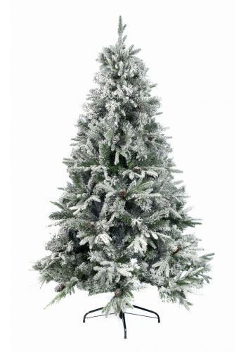 Χριστουγεννιάτικο Χιονισμένο Δέντρο ALASKA με Κουκουνάρια (2,1m)