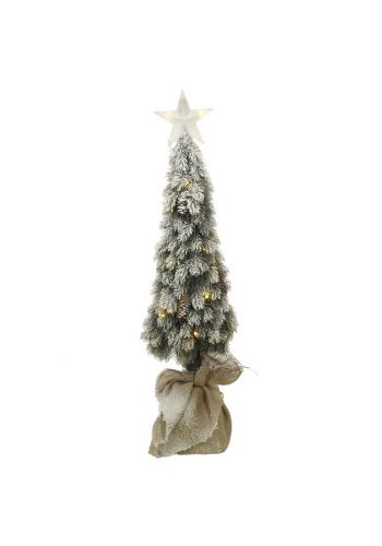 Χριστουγεννιάτικο Φωτιζόμενο Επιτραπέζιο Δεντράκι Χιονισμένο με 20 LED και Αστέρι (90cm)