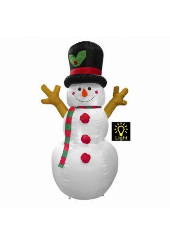 Χριστουγεννιάτικος Φουσκωτός Πλαστικός Χιονάνθρωπος με Φως Λευκό (1.6m)