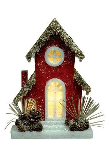 Χριστουγεννιάτικο Διακοσμητικό Φελιζόλ Σπίτι Κόκκινο (23cm)