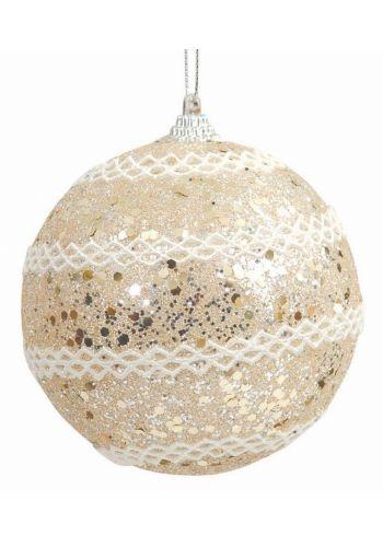 Χριστουγεννιάτικη Μπάλα Σαμπανιζέ με Λευκές Ρίγες (8cm)