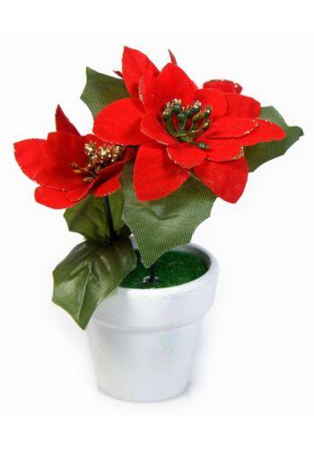 Χριστουγεννιάτικο Επιτραπέζιο Γύαλινο Γλαστράκι Αλεξανδρινό Κόκκινο (18 cm)