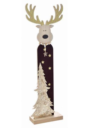Χριστουγεννιάτικος Ξύλινος Διακοσμητικός Τάρανδος με LED Πολύχρωμο (60cm)