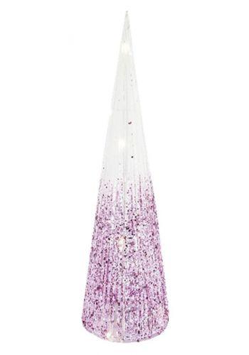 Χριστουγεννιάτικος Φωτιζόμενος Υφασμάτινος Κώνος Λευκός - ροζ με 15 led (50cm)