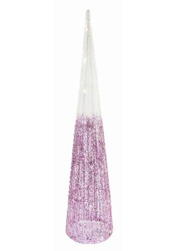 Χριστουγεννιάτικος Φωτιζόμενος Υφασμάτινος Κώνος Λευκός - ροζ με 30 led (110cm)