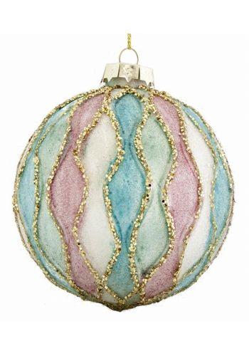 Χριστουγεννιάτικη Μπάλα Γυάλινη Δίχρωμη σετ 4τεμ (10cm)