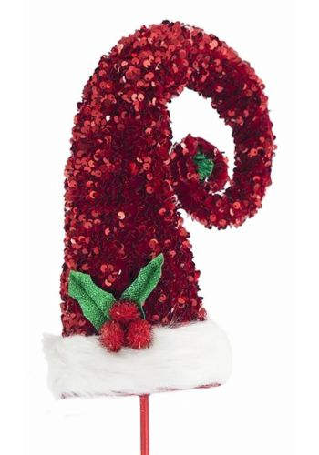 Χριστουγεννιάτικος Σκούφος Πλαστικός Καλικάτζαρου Κόκκινος με Πούλιες (98cm)