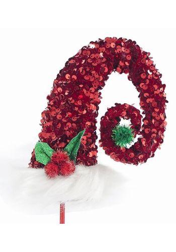 Χριστουγεννιάτικος Σκούφος Πλαστικός Καλικάτζαρου Κόκκινος με Πούλιες (66cm)