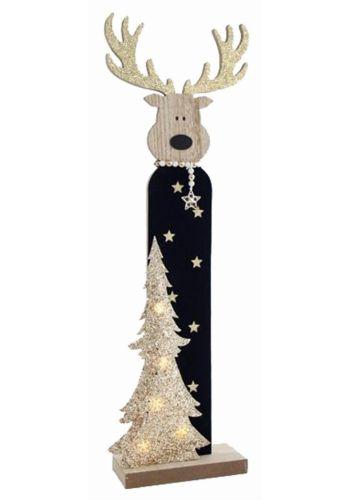 Χριστουγεννιάτικο Ξύλινο Διακοσμητικό Χρυσό με Τάρανδο (60cm)