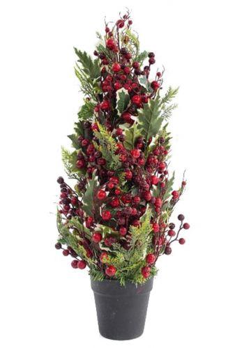 Χριστουγεννιάτικο Επιτραπέζιο Δέντρο σε Γλάστρα με Berries (75cm)