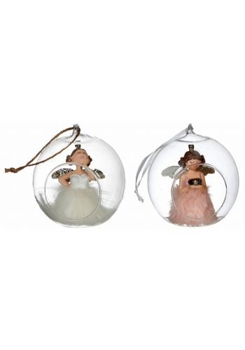 Χριστουγεννιάτικη Γυάλινo Διακοσμητικό με Αγγελάκι - 2 Χρώματα (10cm)