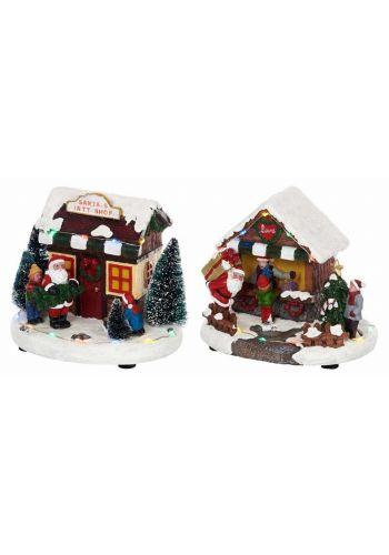 Χριστουγεννιάτικο Διακοσμητικό Σπιτάκι Άγιου Βασίλη με Ήχο και LED (15cm) - 2 Σχέδια