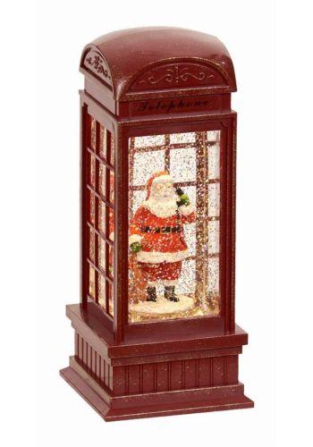 Χριστουγεννιάτικος Διακοσμητικός Πολυρεζίνη Τηλεφωνικός Θάλαμος με Νερό και LED Κόκκινο (25cm)