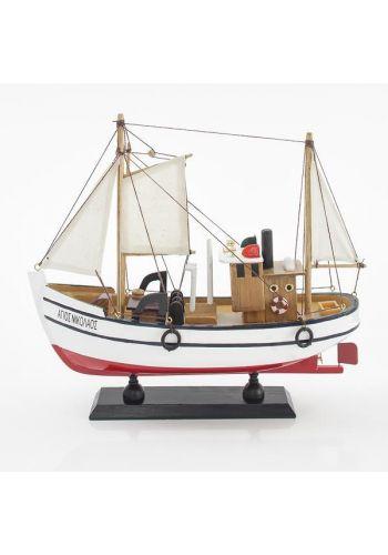 Χριστουγεννιάτικο Ξύλινο Διακοσμητικό Παραδοσιακο Καράβι Λευκό (30cm)