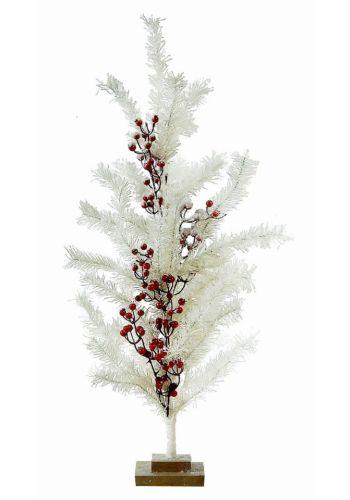 Χριστουγεννιάτικο Λευκό Επιτραπέζιο Δεντράκι Στολισμένο με Γκι, 76cm