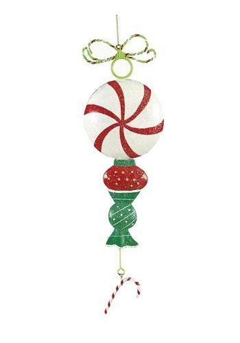 Χριστουγεννιάτικο Στολίδι Καραμέλα - Γλειφιτζούρι, Λευκό (25cm)