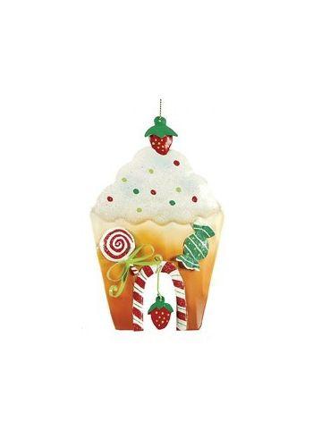 Χριστουγεννιάτικο Μεταλλικό Πολύχρωμο Στολίδι, Σπιτάκι με Γλυκά (15cm)