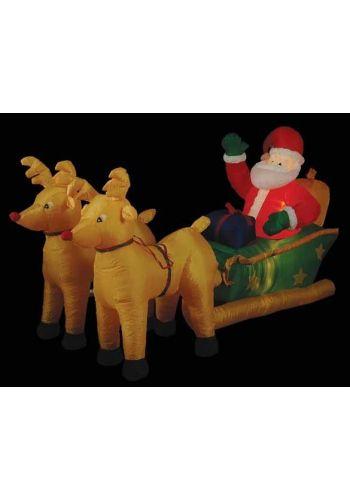 Χριστουγεννιάτικος Φουσκωτός Πλαστικός Άγιος Βασίλης με Έλκηθρο και Φως Πολύχρωμο (2.50m)